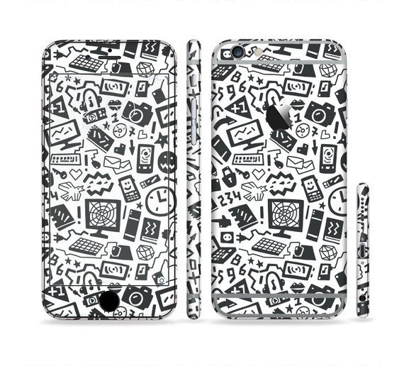 The Black & White Technology Icon Six-Piece Sectioned Series Skin Set for the Apple iPhone 6 or 6 Pl