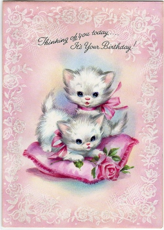 Vintage Happy Birthday Card With Kittens