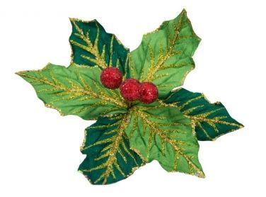 300mm Holly Flower Lime and dark green with Red glitter berries Code:  FLHOLY030LIGR