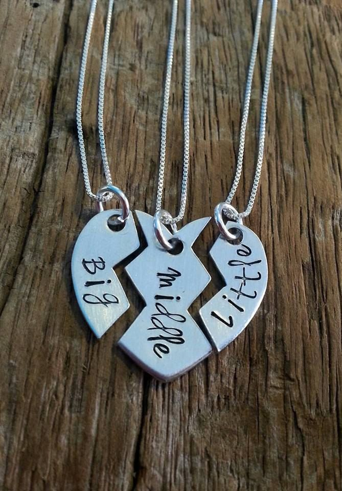 Sister Necklace, Matching Little Sister Middle Sister and Big Sister Necklace Set Of 3, Gift For Big Sis Middle Sis Little Sis, Family Gift by PreciousPodsBySarahO on Etsy https://www.etsy.com/listing/211948545/sister-necklace-matching-little-sister