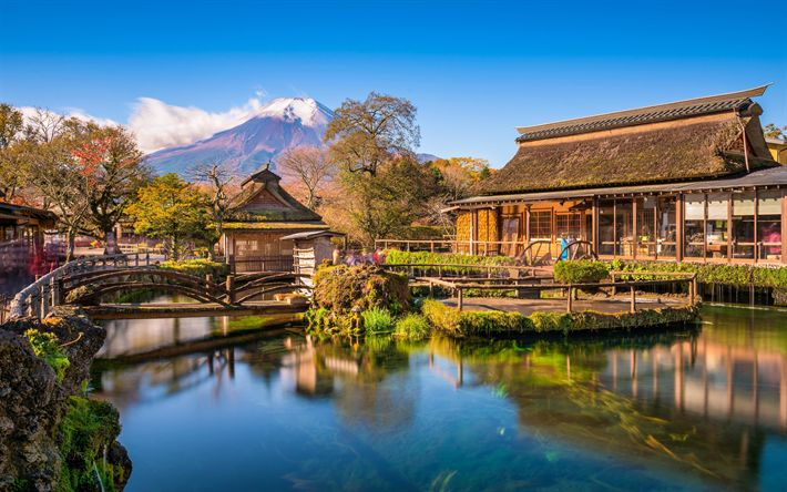 Download wallpapers Japan, 4k, Mount Fuji, Fujiyama, autumn, japanese landmarks, Asia