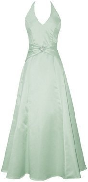Satin halter dress crystal pin prom holiday gown formal bridesmaid xl