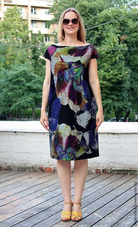 Купить Валяное платье Жароптицево перо - авторская ручная работа, нуновойлок, повседневная одежда