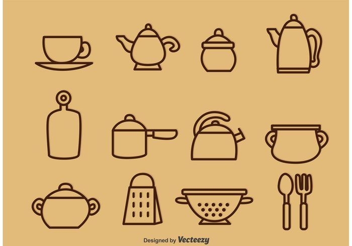 Free vector Outlined Vintage Kitchen Utensil Vector Icons #18401
