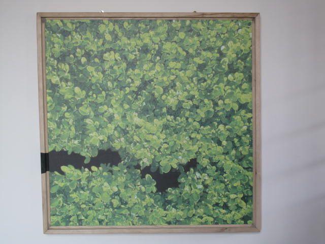 INFRATTATI LUCIA CRISCI Stampa fotografica ad aspirazione su tela, vernice, acrilico, castagno massello, carta. Giugno 2014, 106 cm per 106 cm.