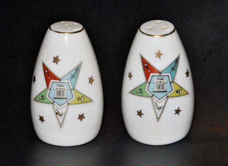 Vintage ORDER OF THE EASTERN STAR Salt & Pepper Shakers made by LEFTON CHINA 103 #OES #EasternStar #OrderOfTheEasternStar #Lefton