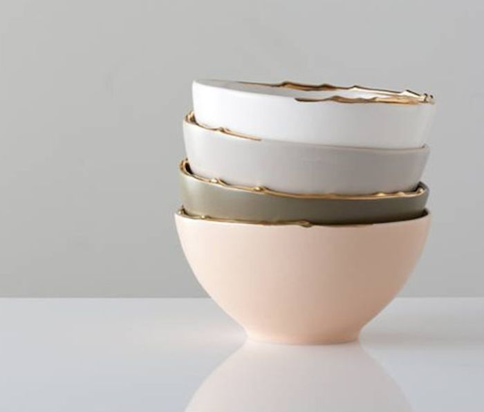 Loving these...Flawed bowls with the #gold rims  anyahinteriors.com.au