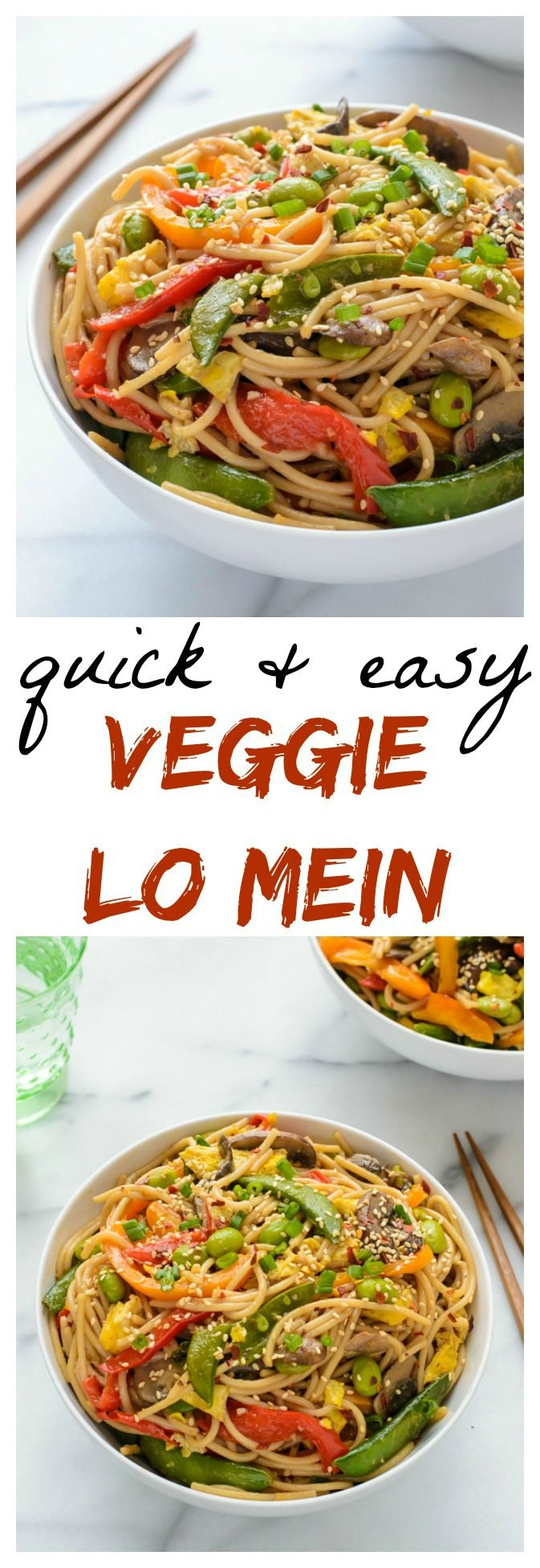 I'm never getting take out again! This Veggie Lo Mein recipe is so quick and easy. Filled with protein, veggies and gluten free!