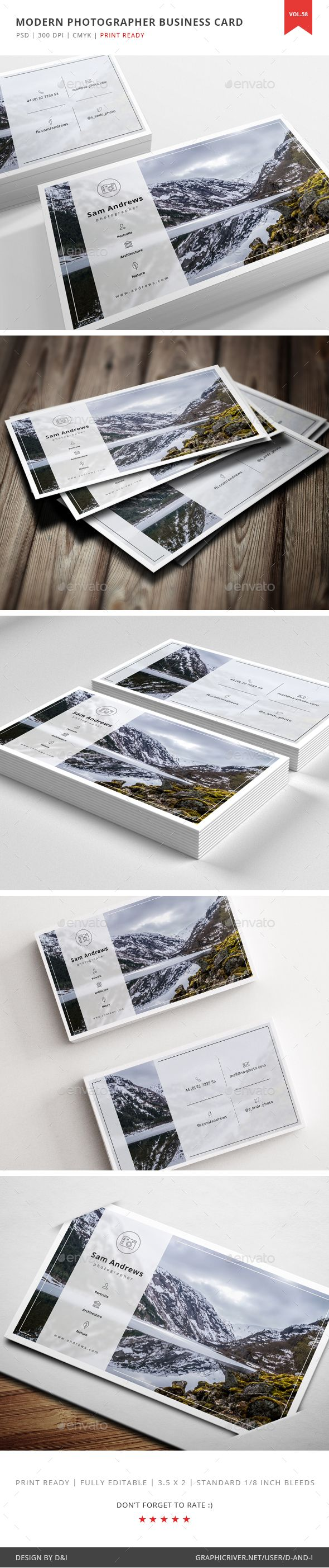 Modern Photographer Business Card  Vol. 58 — Photoshop PSD #creative agency #design studio • Available here → https://graphicriver.net/item/modern-photographer-business-card-vol-58/16831405?ref=pxcr