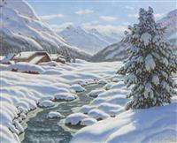 IVAN FEDEROVICH CHOULTSÉ -(St. Petersburg 1874 - 1939 Nice) Snowy winter landscape in the mountains. #CHOULTSE  #Koller #Auktionen #Auctions