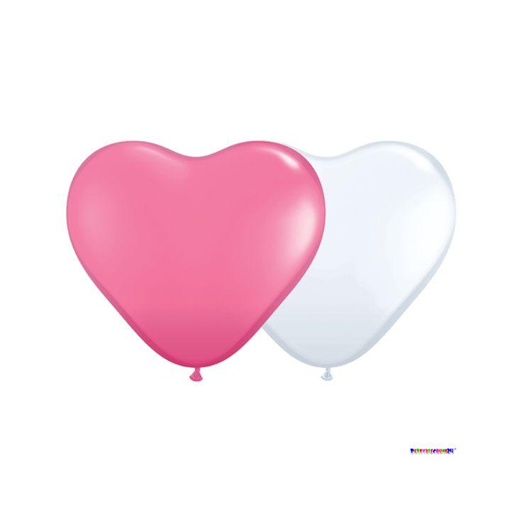 Herzballons Rosa-Weiß Ø 25 cm 50 Stück