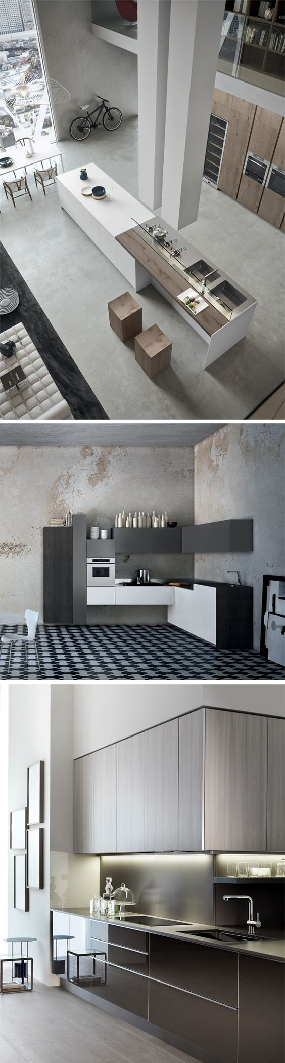 Modern, minimalist and industrial style... 1125 Kitchen Design Ideas to inspire you! #kitchens #interiors #design: