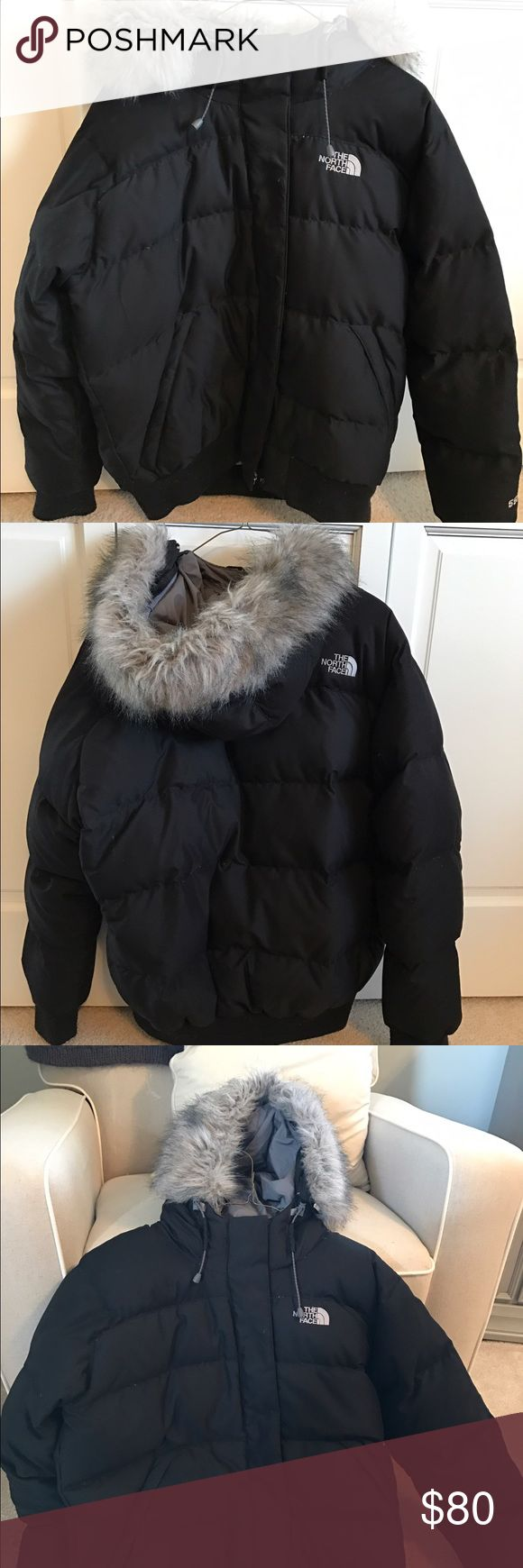 North Face 550 goose-down coat w/ fur lined hood Women's North Face goose-down winter coat with fur lined hood. EXCELLENT condition, like brand new. Size Large. Black exterior with gray fur lined hood. Puffy and soft. The North Face Jackets & Coats Puffers