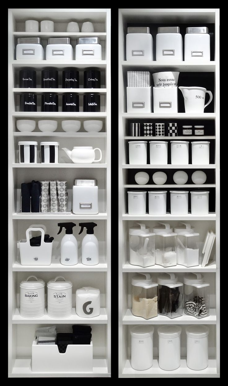 *black + white organized kitchen