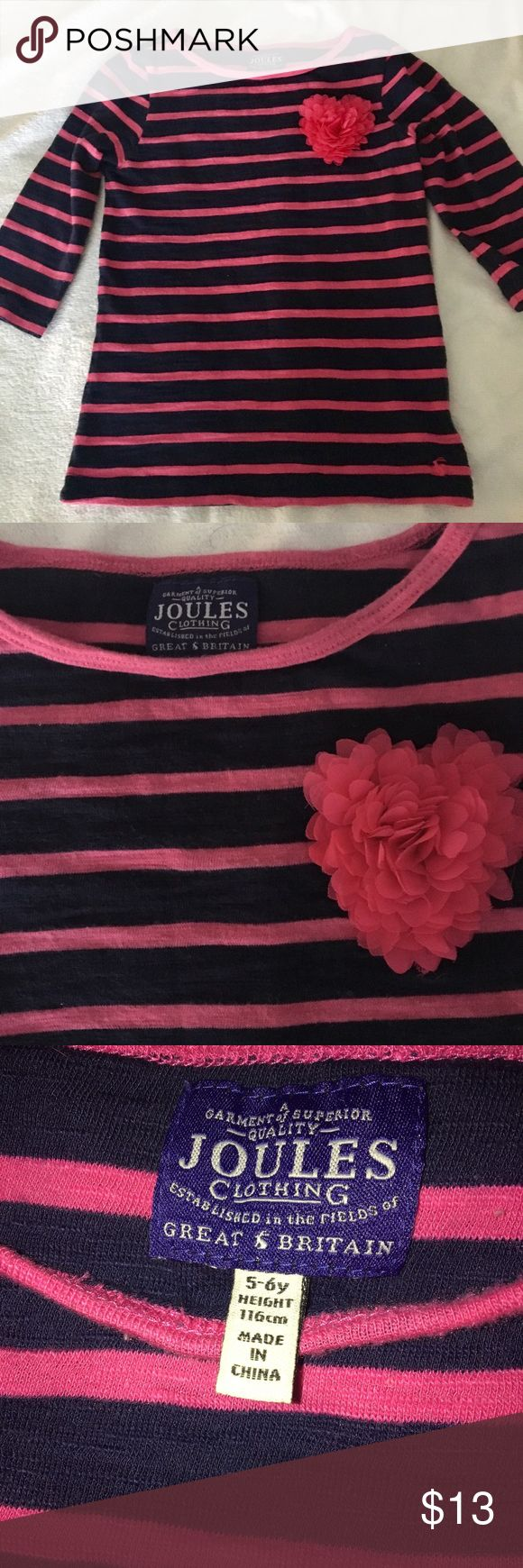 Joules top 3/4 sleeve girls 5/6 EUC Navy blue and hot pink joules top for girls- adorable heart embellishment on chest and signature lil bunny on bottom Joules Shirts & Tops Tees - Short Sleeve