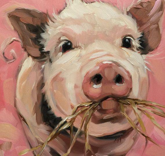 Schwein-Malerei, Original impressionistische Ölgemälde von ein süßes kleines Schweinchen chomping auf Heu 6 x 6 am Panel.  Dieses Gemälde ist frisch aus der Staffelei. Es werden versandfertig am 19. Dezember  Professionellen Fine Art Board ist 1/8 dick. Diese kleinen Bilder können auf eine dekorative Staffelei auf eine Tischplatte oder einfach und kostengünstig gerahmte über einen standard Bilderrahmen (minus das Glas oder mit einem Matten) angezeigt werden  Kunstwerk wird fotografiert u...