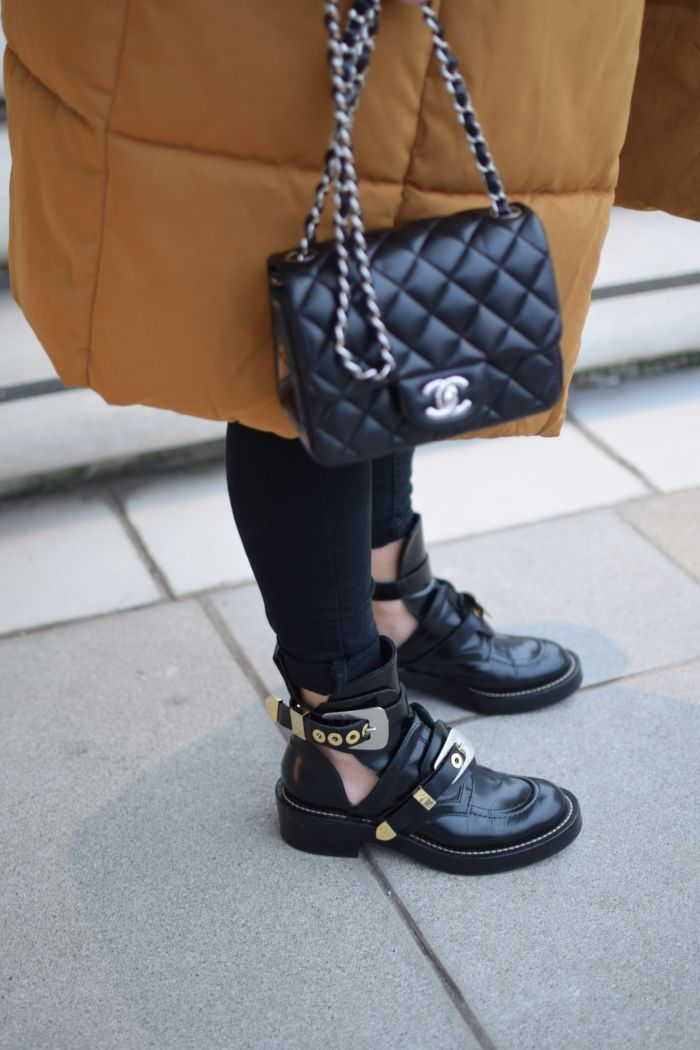Details: Chanel mini and Balenciaga Boots