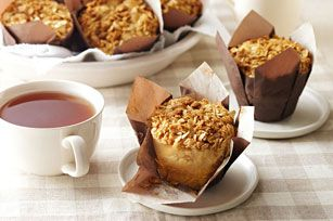 Perfect for breakfast or on-the-go snacks, these apple muffins are sure to please.  Peanut Butter is used in place of butter in the crisp and crumbly streusel topping - a tasty twist on tradition.