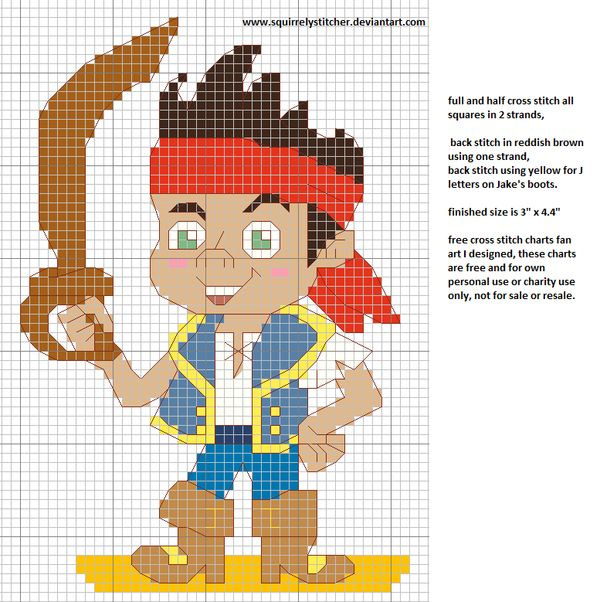 Jake and the Neverland pirates free cross stitch by squirrelystitcher