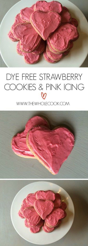 Dye Free Strawberry Cookies & Pink Icing: Yummy strawberry cookies with bring pink or red icing using NO red dye!