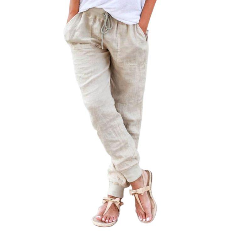 Aliexpress.com: Compre Mulheres de Cintura alta Algodão Elástico Da Cintura calças Casuais Calças De Linho Soltas 2016 calças Cáqui Harém Solto Calças de Comprimento No Tornozelo para As Mulheres de confiança calças shorts fornecedores em Mezone