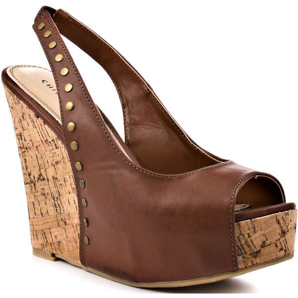Chinese Laundry Women's Dazzler - Soft Burn Brown ($63) ❤ liked on Polyvore featuring shoes, sandals, wedges, heels, brown, open toe, platform, slingback, casual and women