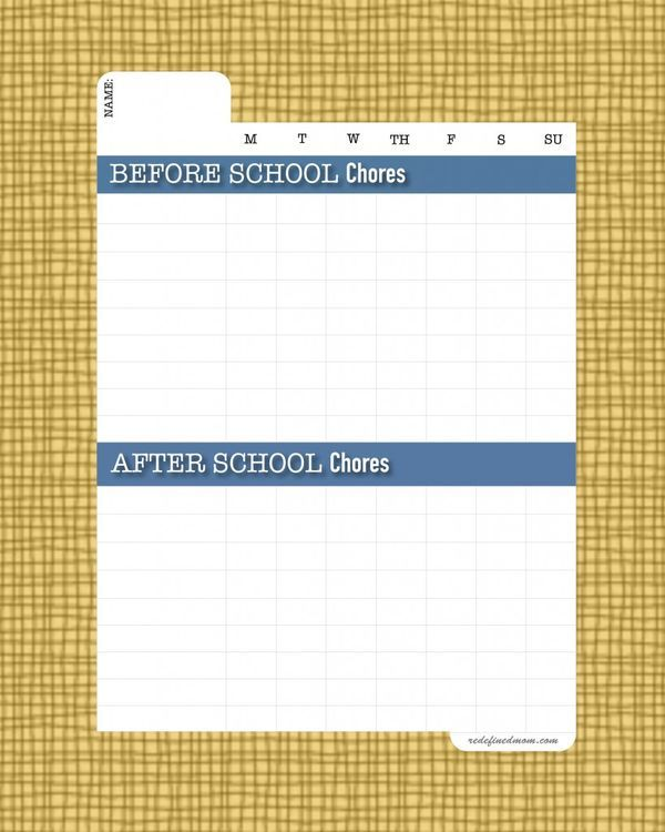 DIY Back To School Chore Chart Template