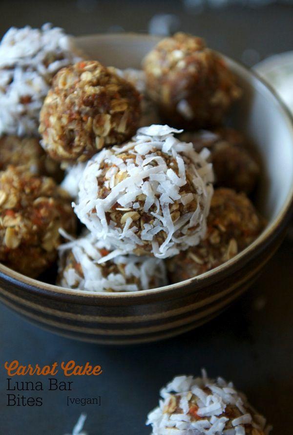 Homemade Luna Bar Bites - carrots, walnuts, coconut, cinnamon, dates