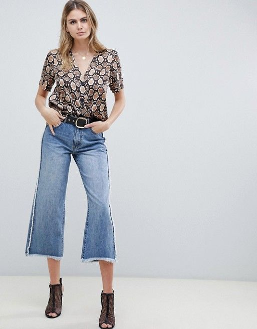 d7a63324075d6f ASOS Tall | ASOS DESIGN Tall boxy top with contrast buttons in snake print
