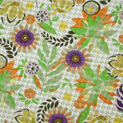 "Cotton Poplin Fabric Floral Pattern Sewing 41"" Width White Crafted India Sewing Fabric By Per Yard"