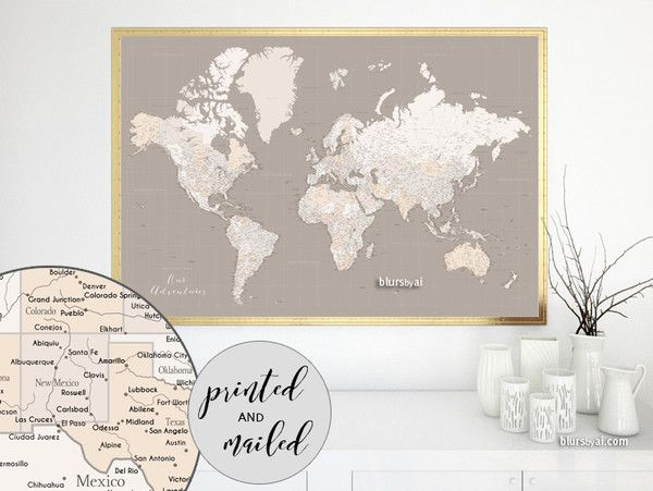12 best world maps large 60x40 and detailed push pin maps or large world map print featuring a highly detailed world map with cities in neutrals brown gumiabroncs Image collections