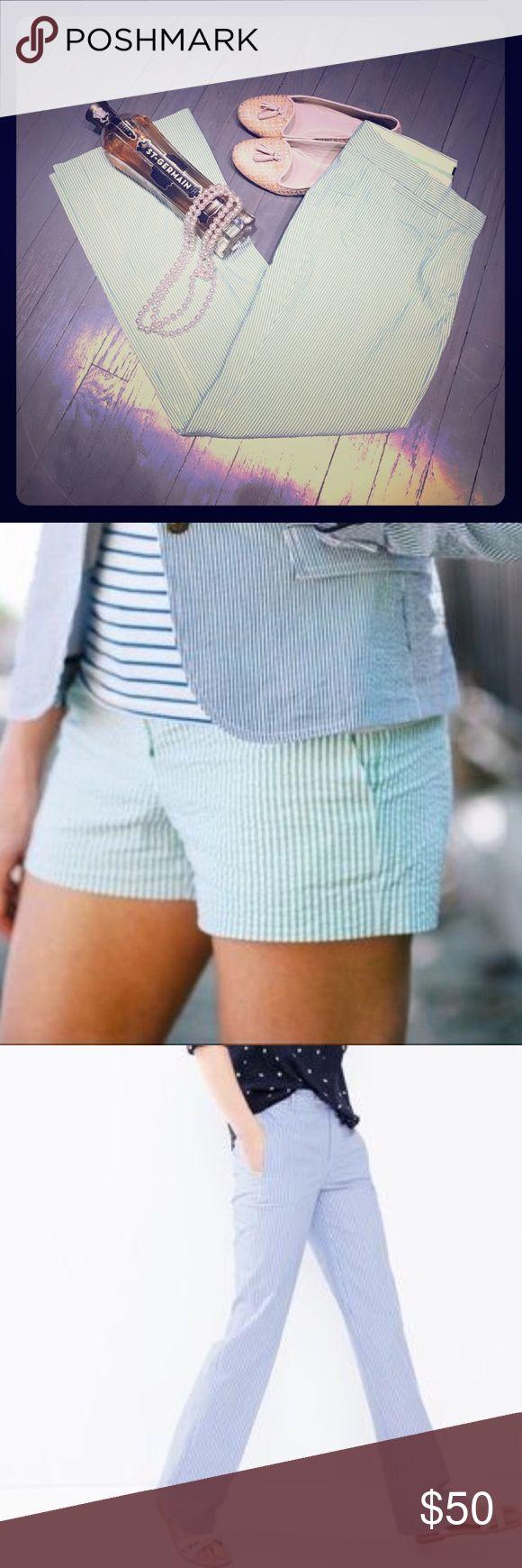 J Crew favorite fit green white seersucker pants J. Crew favorite fit green white seersucker straight leg pants (green seersucker 5yr boys shorts also for sale in another listing) J. Crew Pants Straight Leg