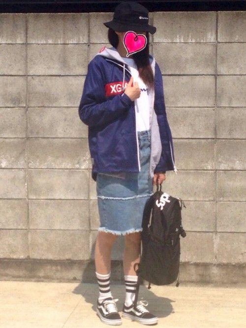 AYU∞さんの「ユニセックス チャンピオン ツイル スウェット ハット Champion TWILL DENIM SWEAT HAT CP1506-16(Champion)」を使ったコーディネート