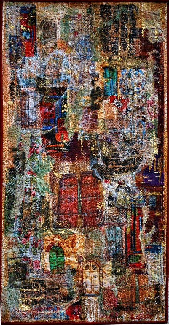 """Textural Collage:  Size  21.5"""" x 41""""     56cm w x 105 cm h  """"Artists have a special role to play in the global struggle for peace. At their best, artists speak not only to people; they speak for them. Art is a weapon against ignorance and hatred and an agent of public awareness… Art opens new doors for learning, understanding, and peace among people and nations."""" Kofi Annan Firenze Biennale 2007'Doorways To Peace' Textile Art Collage. based on Kofi Annan's speech. ...Created on 100% cotton…"""