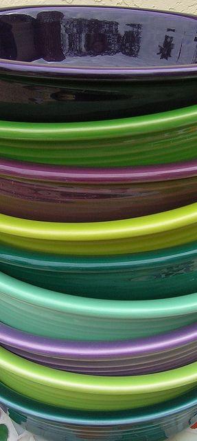 Fiestaware colors from the bottom up - Juniper, Chartreuse, Lilac, Seamist, Evergreen, Lemongrass, Heather, Shamrock, Plum.