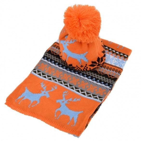 Stylish New Women's Ladies Sweet Deer Pattern Winter Warm Thickening Knitted Long Scarf Shawl + Ski Hat Set