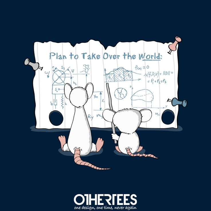 """Take Over the World"" by thehookshot T-shirts, Tank Tops, Sweatshirts and Hoodies on sale until 5th October at www.OtherTees.com Pin it for a chance at a FREE TEE! #pinkyandthebrain"