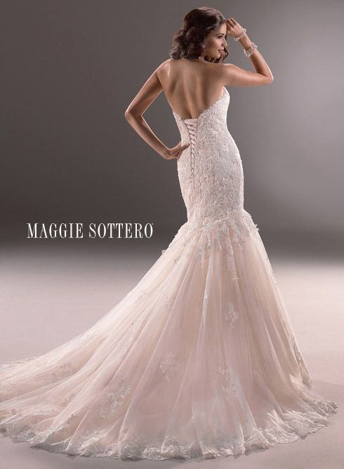 Maggie Sottero Marianne Wedding Dress Wedding Dresses Bridal Gown Bridal Gowns mermaid cut fit and flare trumpet style tulle lace sweetheart neckline corset back ivory blush