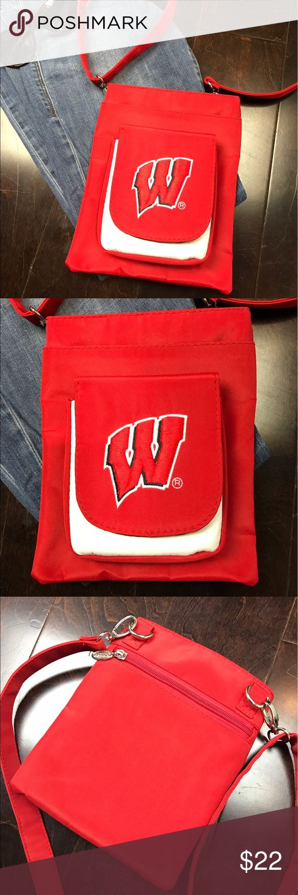"Wisconsin Badgers Game Day Purse (Bag) Stylish, Trendy, In fashion!  Make this item part of your wardrobe today!  ❤️ Size  - Approximately 8"" Long x 7"" Wide ❤️ Over the Shoulder or Crossbody w/ adjustable strap ❤️ Snap Pocket in front / Extra Zipper Pocket in back / Durable Zipper Middle ❤️ Color - Red & White (Go Badgers)  Please ""comment"" below with questions on this listing or other listings in my closet.  I accept resonable offers!  Please, no trades.  The other items pictured are not…"