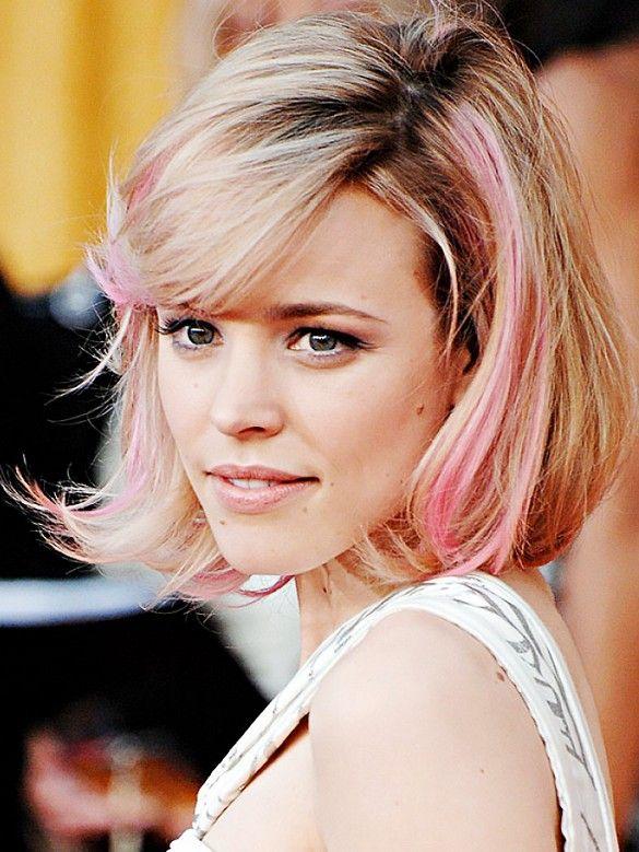 Rachel McAdams sported pastel pink-streaked hair circa 2007.