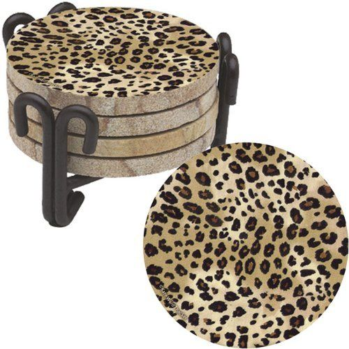 Leopard Natural Sandstone Coaster Set and Iron Coaster Holder by Thirstystone. $26.99. Save 10%!