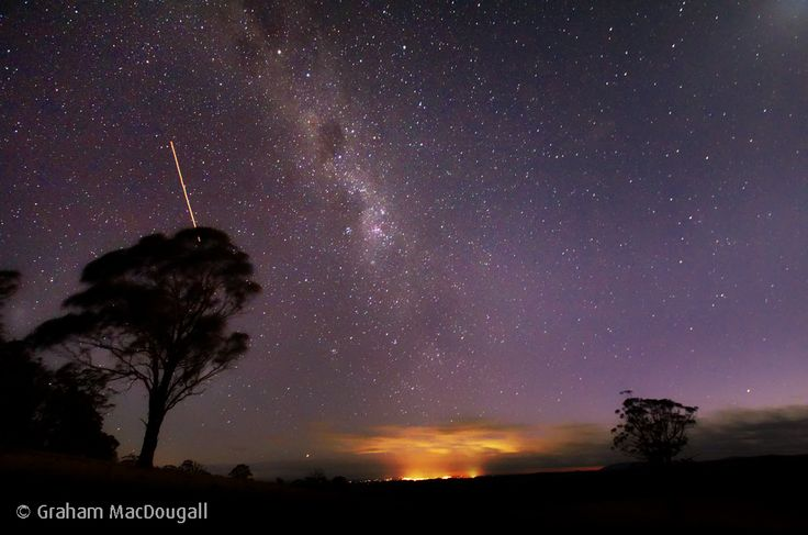 The lights of Armidale, 30 kilometres distant, reflect on low cloud. Above that is the big sky we love here on the Northern Tablelands.