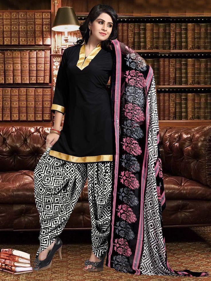 Phenomenal black color kameez crafted on crepe fabric with golden lace neckline. Item Code: SLANA402 http://www.bharatplaza.com/new-arrivals/salwar-kameez.html