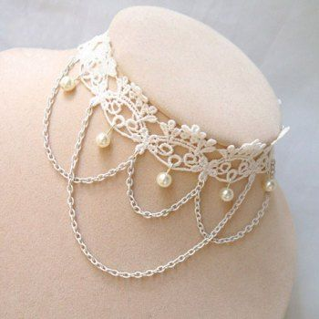 Trendy Retro Faux Pearl Decorated Multilayered Lace Flower Pattern Women's Necklace, WHITE in Necklaces   DressLily.com