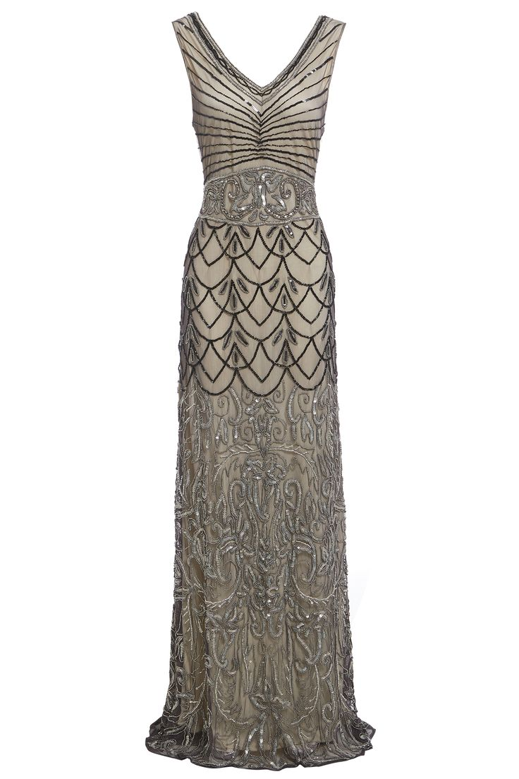 Stand out from the crowd and make an entrance in this beautifully designed 1920's Great Gatsby inspired dress. Adorned in grey sequins and beads, this hand-crafted flapper dress is perfect for the party season. Lavish, vintage and glamorous.