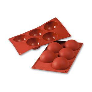 Silicone Bakeware Half-Sphere 4 Oz, 3.15 Diam. x 1.57 Deep, 5 Cavities Multiple Cavity Silicone Baking Molds - BakeDeco.Com