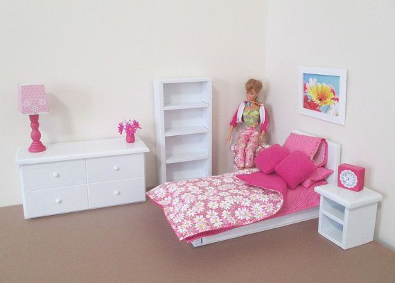 Dolls And Miniatures. Doll Furniture. Barbie Furniture. Barbie Bedroom.  Doll Bedroom. Toy Furniture. Toys. Doll Bed. Miniature