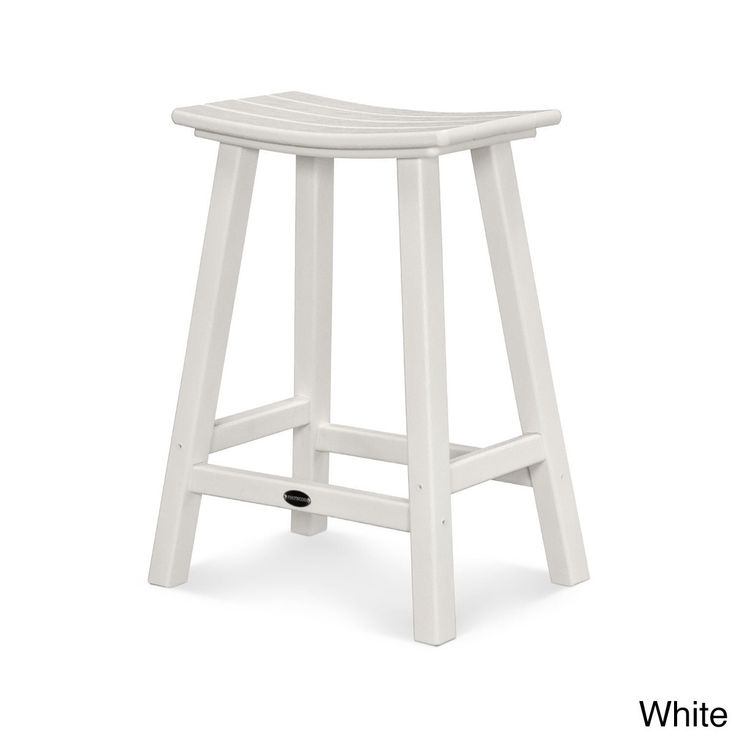 Polywood Traditional 24-inch Saddle Bar Stool (White), Patio Furniture (Plastic)