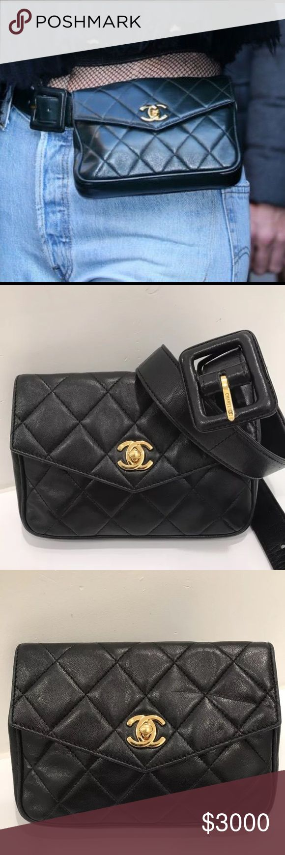 RARE Chanel Fanny Pack Waist Bag RARE Vintage Chanel quilted lambskin fanny pack. Overall good used condition: some minor scuffing, wrinkling & a few light scratches throughout. One bigger scratch on the front but still not too bad. Hologram intact ✅ Belt has 3 adjustments at 26,27 & 28 inches.  This is the same one Kendall Jenner wears! A highly coveted piece!   Reasonable offers welcome! No lowballing, this is a RARE piece!   Authentic & Posh will authenticate it again Ask all questions…