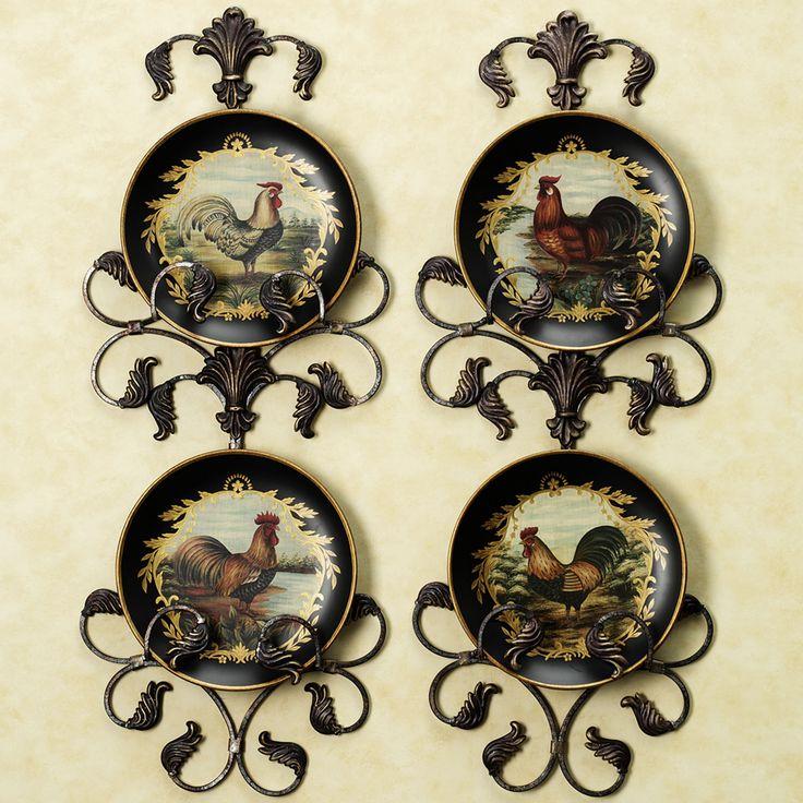 Vintage rooster plate set set of four kitchen pinterest - Decor wall plates ...